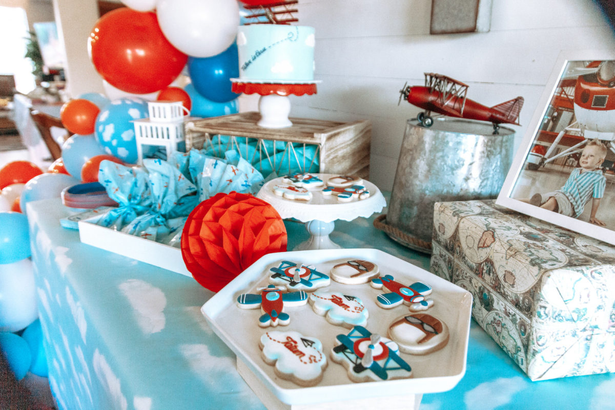 Aviation Cookies, airplane party cookies, third birthday