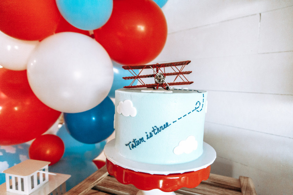 Cloud cake, airplane party cake, third birthday