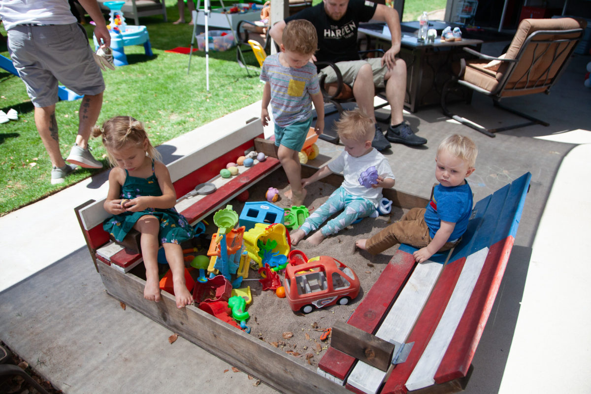 Birthday Party Activities - red white and blue sandbox