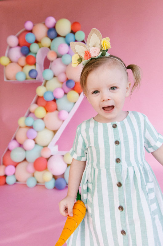 SomeBunnies Two!! The cutest easter themed birthday photoshoot you ever did see! Complete with balloon mosaic, custom felt-floral bunny ears and more