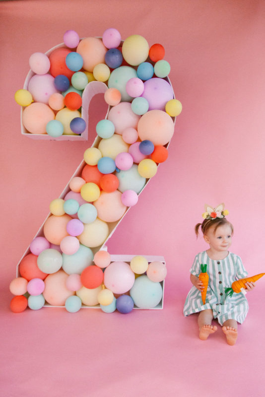 baby girl's second birthday photoshoot. Bunny themed photoshoot