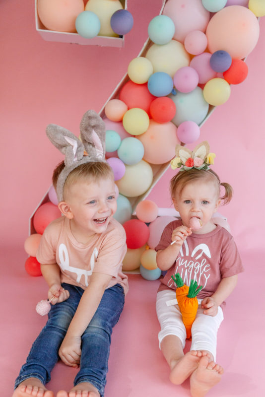 Somebunnies two! Brother and sister Bunny themed photoshoot