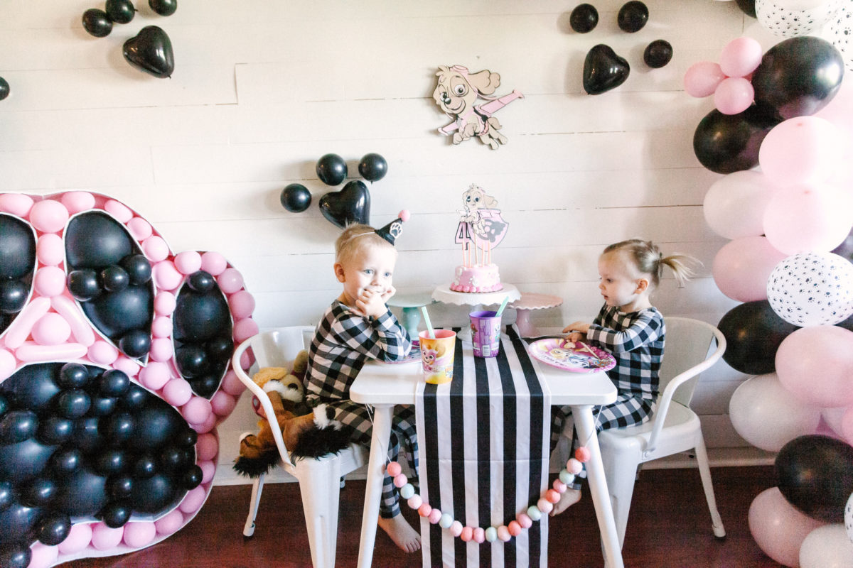 Black white and pink paw patrol party