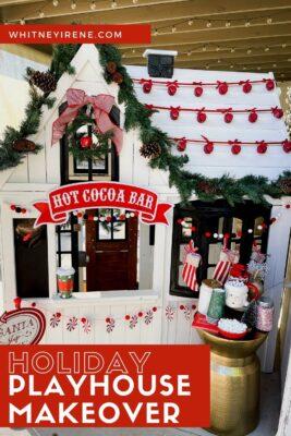 Christmas Playhouse Decor Inspo. Farmhouse style Christmas decor + hot coco bar!