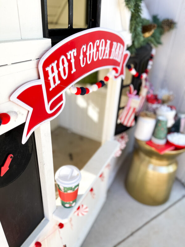 Playhouse Christmas Decor + hot coco bar